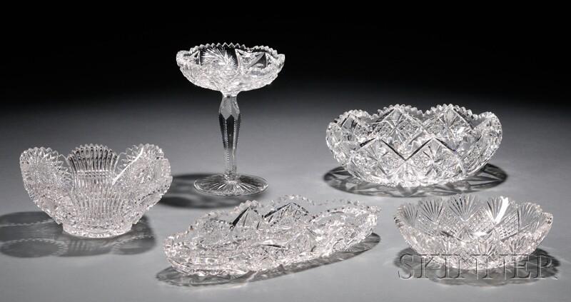 Five Cut Glass Dishes