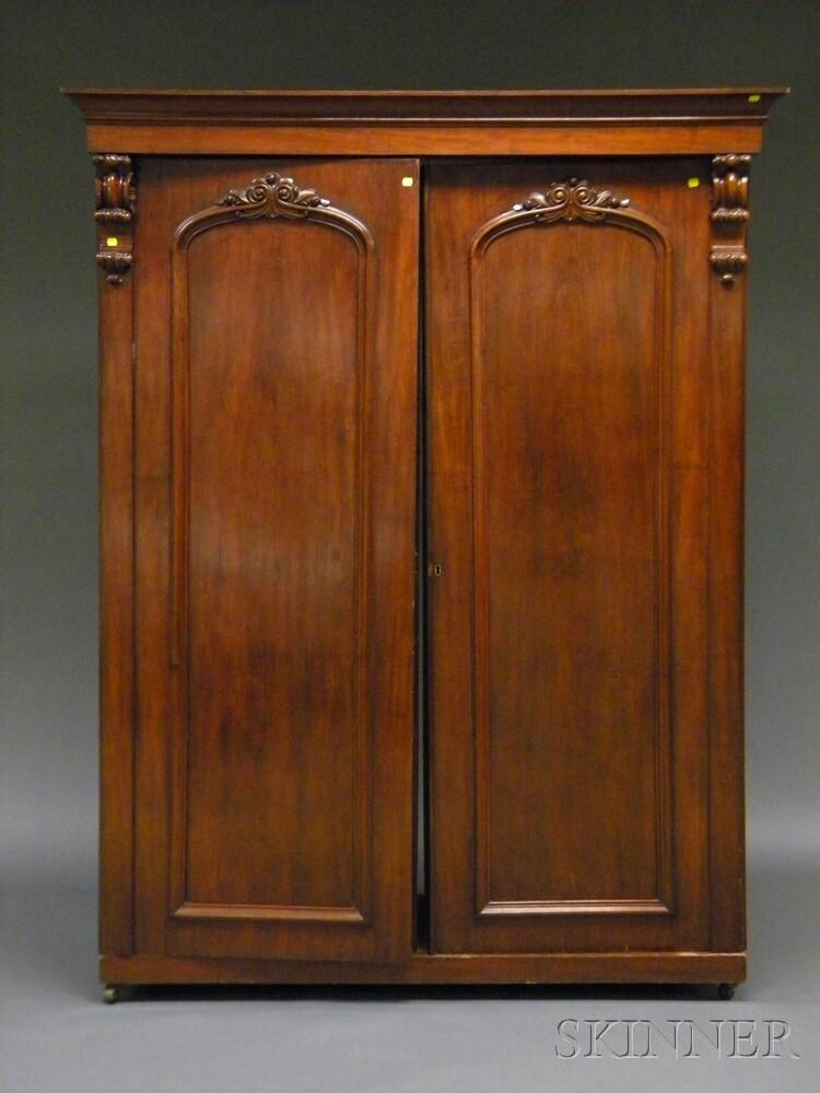 Rococo Revival Two-door Carved Walnut Armoire
