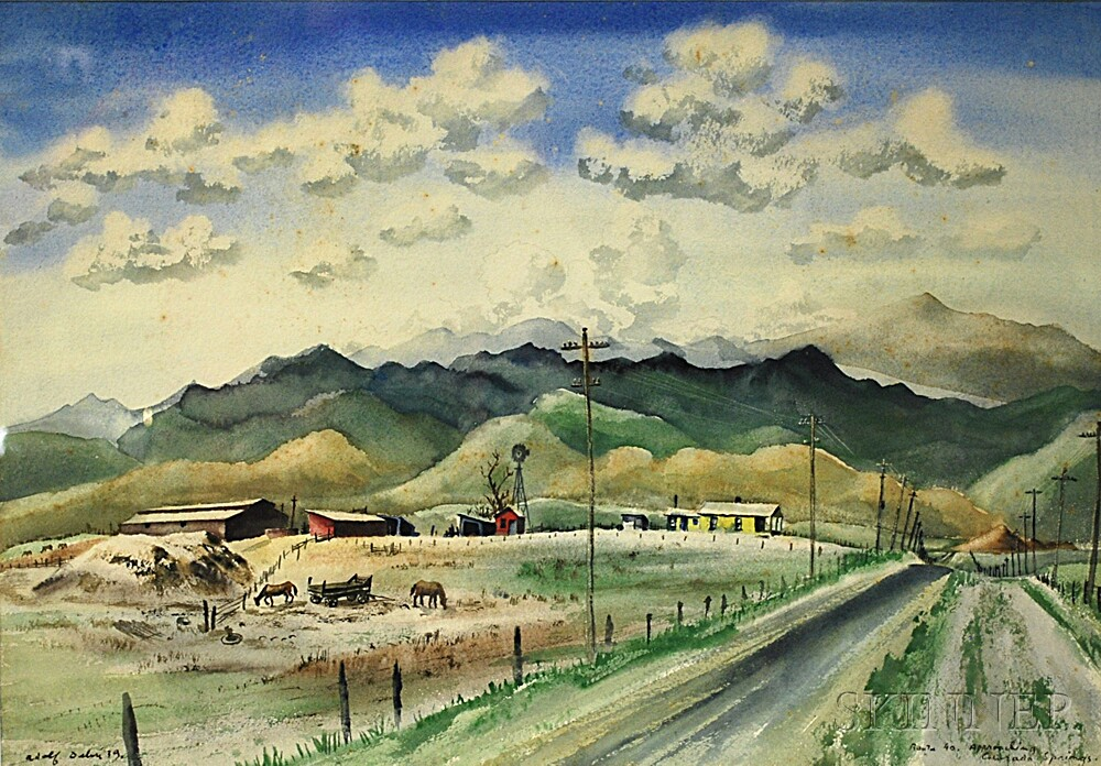 Adolf Arthur Dehn (American, 1895-1968)      Route 40, Approaching Colorado Springs