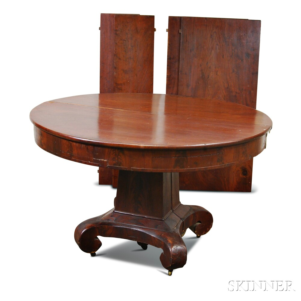 Late Classical Mahogany Veneer Pedestal Dining Table  : 1127152 from www.skinnerinc.com size 1000 x 1000 jpeg 110kB