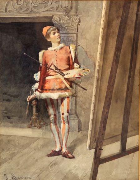 Attributed to Jose Maria Manresa (Spanish, 19th Century)    The Gentleman Artist Admiring His Work