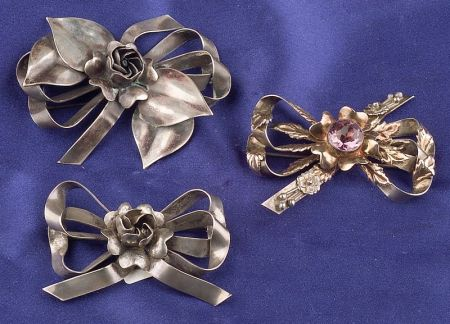 Three Sterling Silver Bow Brooches, Hobe