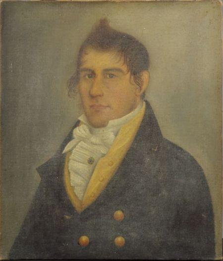 Attributed to Frederick Mayhew (Martha's Vineyard and Ohio, 1785-1854)     Portrait of Sea Captain Bartlett Mayhew.