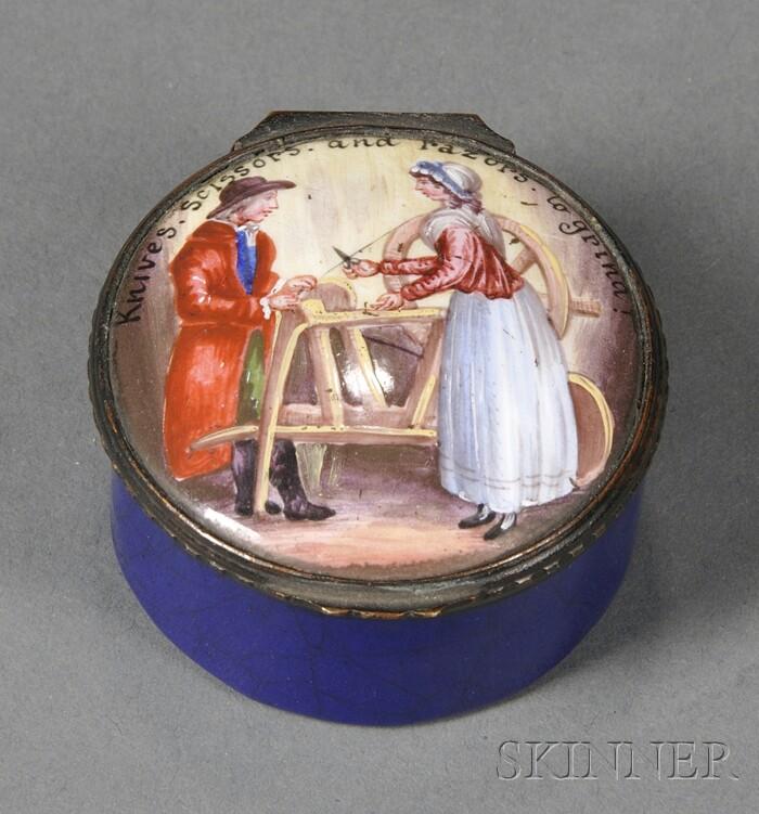 English Copper Enamel Snuffbox