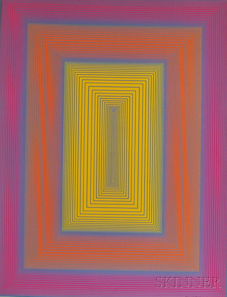 Richard Anuszkiewicz (American, b. 1930)      Reflections in Yellow, Orange, and Pink with Blue