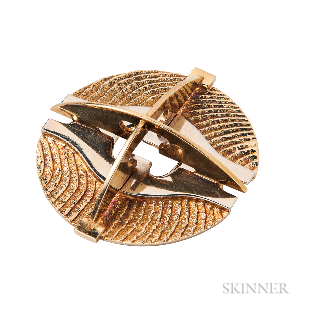 Gold and Sterling Silver Brooch, Gio Pomodoro