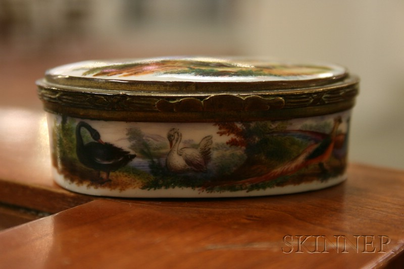 French Painted Porcelain Oval Patch Box