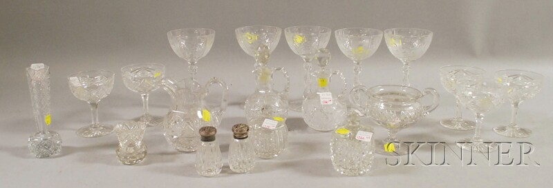 Ten Small Colorless Cut Glass Table Items and Two Small Sets of Colorless Cut Glass   Stemware