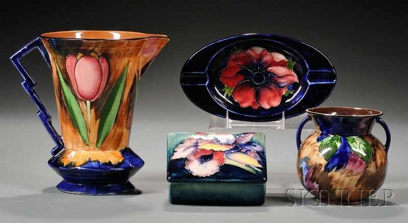 Moorcroft Box and Ashtray and Tunstall Vase and Pitcher