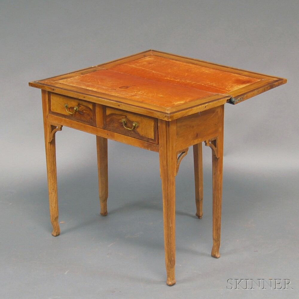 Italian Neoclassical Fruitwood Game Table with Drawer