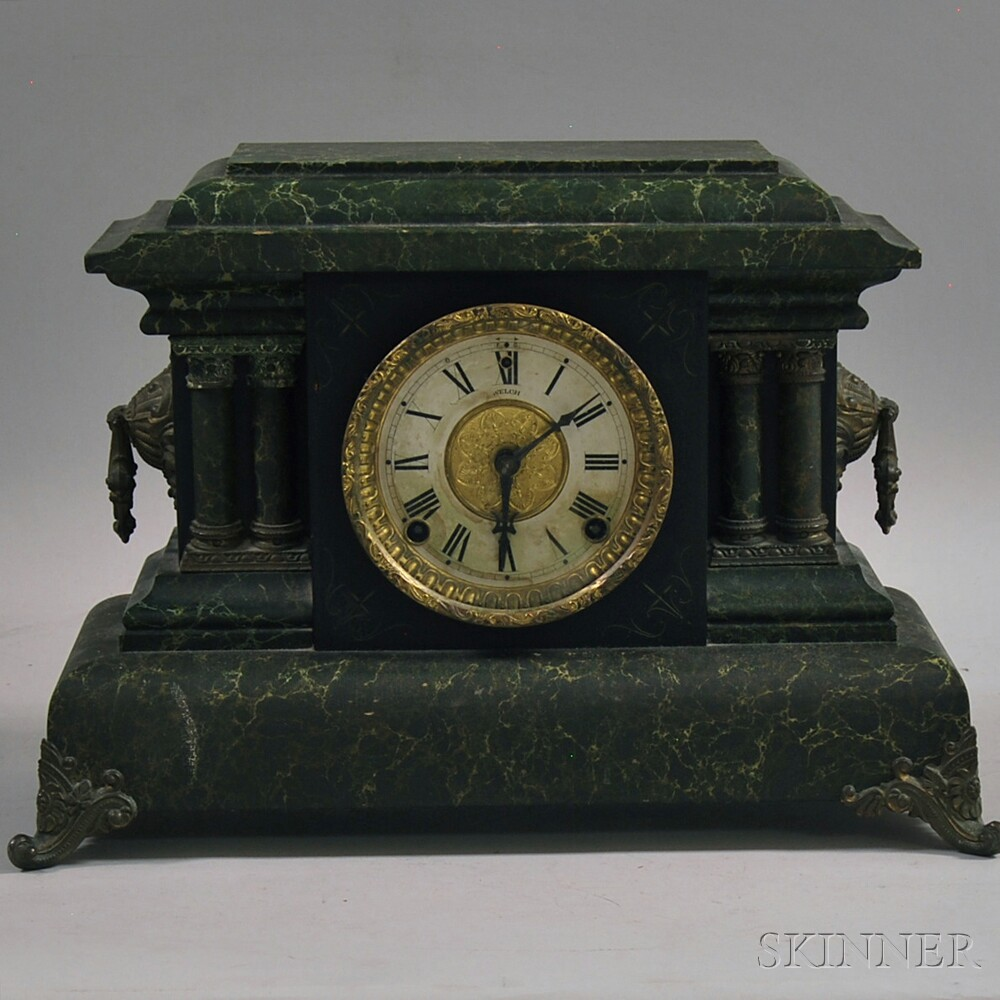 Welch Faux Marble Mantel Clock