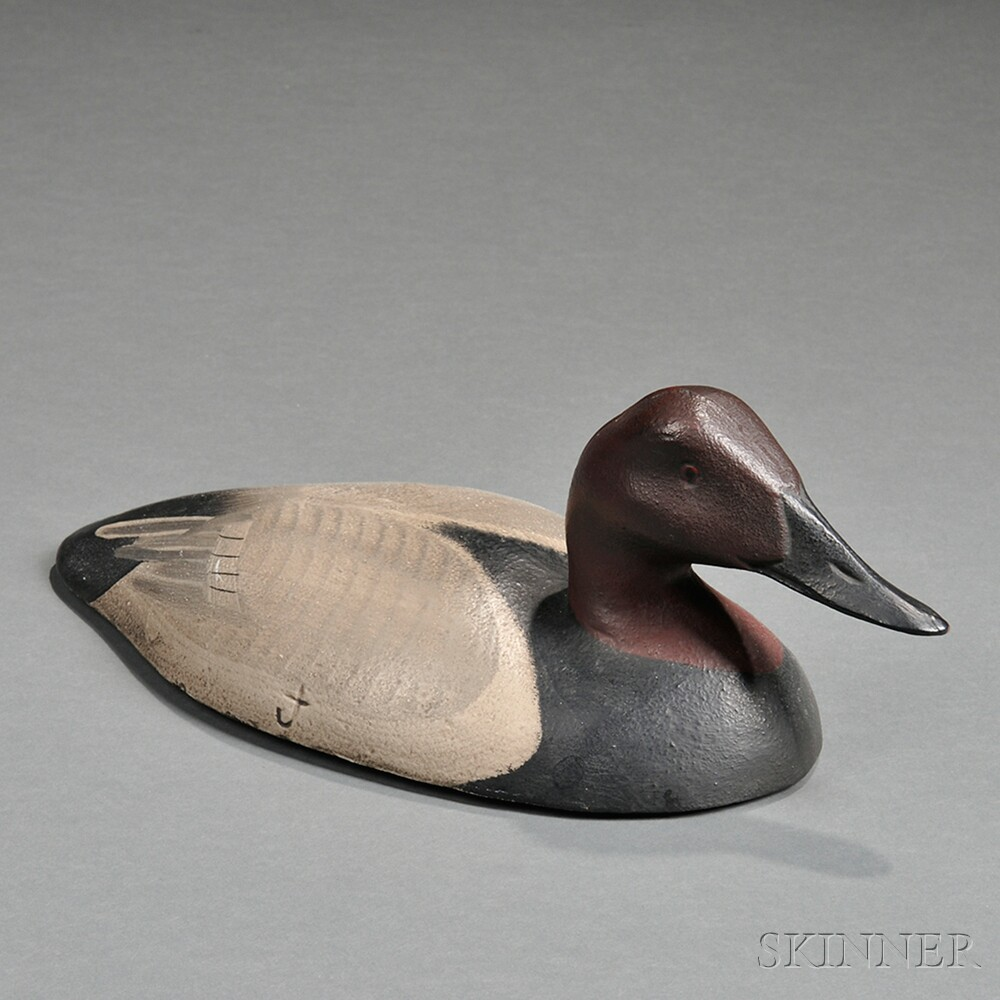 Painted Cast Iron Canvasback Duck-form Sink Weight