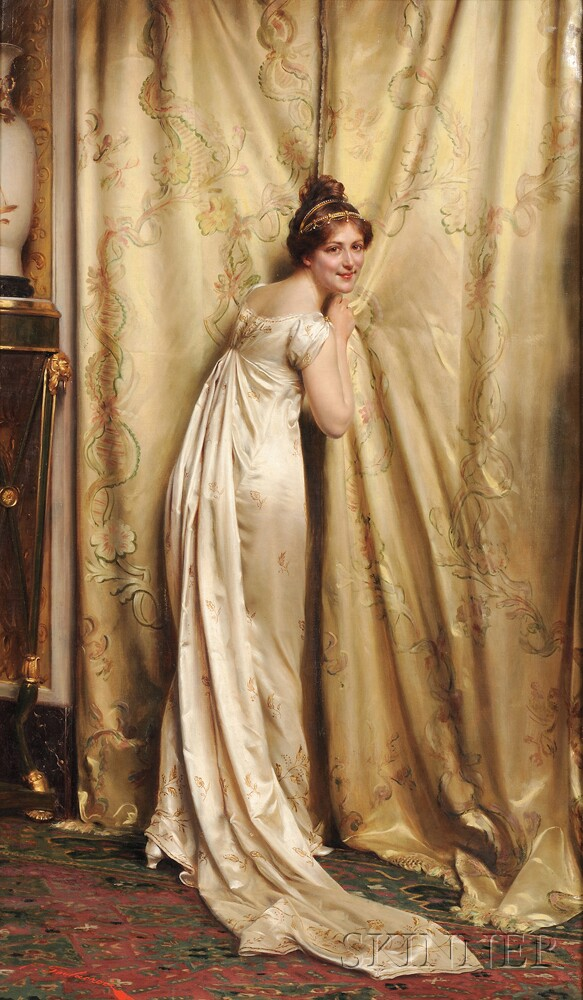 Charles Joseph Frederic Soulacroix (French, 1825-1879 or later)      A Peek Behind the Curtain