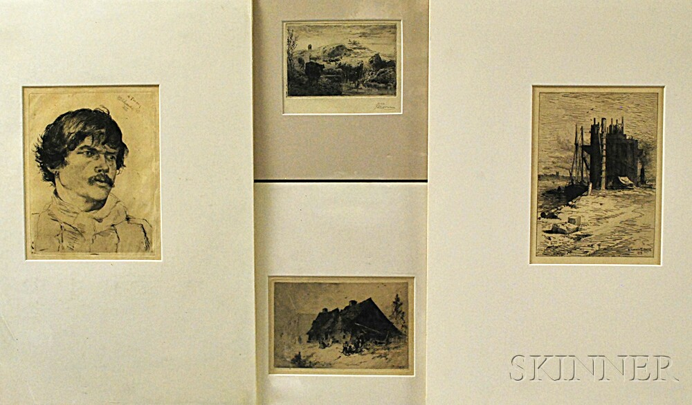 Four Unframed Late 19th Century Etchings:      Percy (Edward Percy) Moran (American, 1862-1935), Cattle in a Landscape