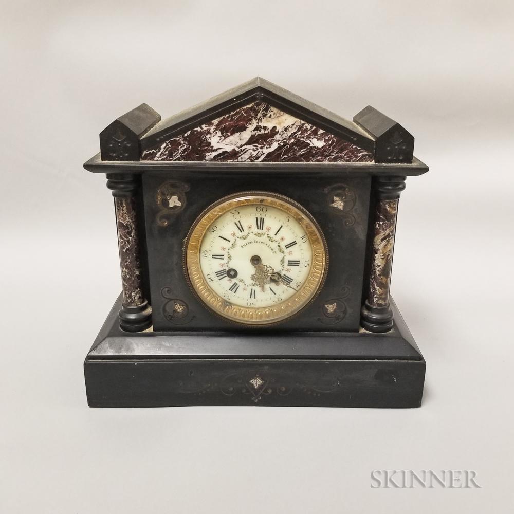 Marble and Belgian Black Slate Shelf Clock
