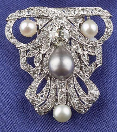 Art Deco Platinum, Diamond and Pearl Clip