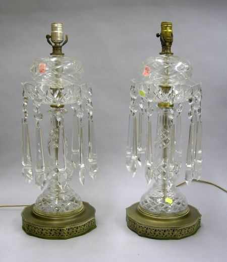 Pair of Colorless Cut Glass and Brass Mounted Lustre Table Lamps.