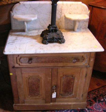 Victorian White Marble-top Walnut Commode.