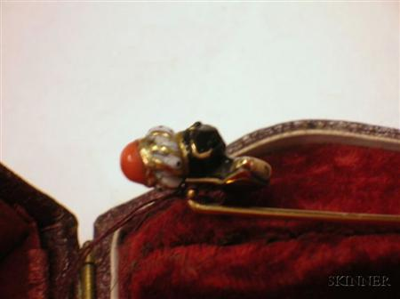 Antique Enamel and Coral Blackamoor Stickpin