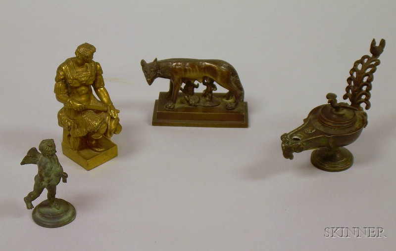 Three Classical and Archaic-type Bronze Figures and an Oil Lamp.