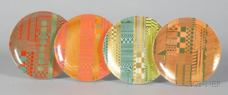 Four Wedgwood Bone China Eduardo Paolozzi Plates