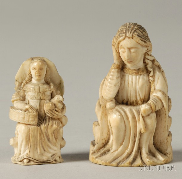 Two Small European Carved Ivory Figures