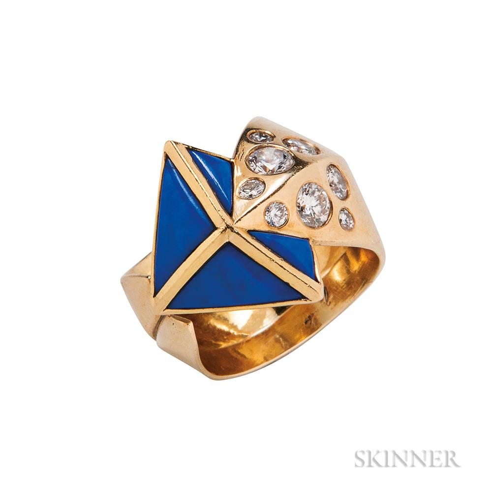 18kt Gold, Lapis, and Diamond Arrow Ring, Otto Jakob