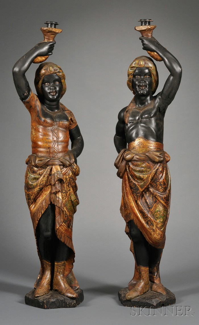 Pair of Victorian Blackamoor Hall Figures