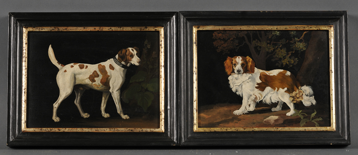 Lot of Two Paintings of Dogs, British School, 20th Century