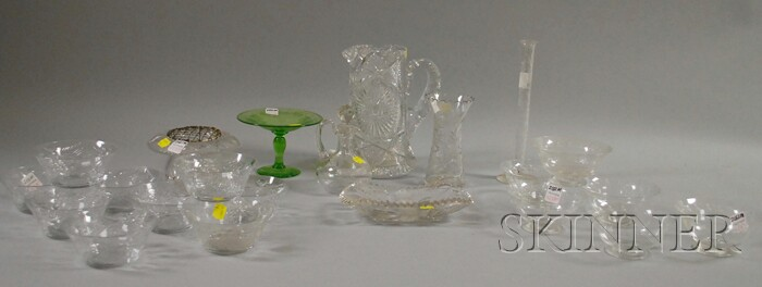 Twenty-two Pieces of Mostly Colorless Cut Glass Tableware