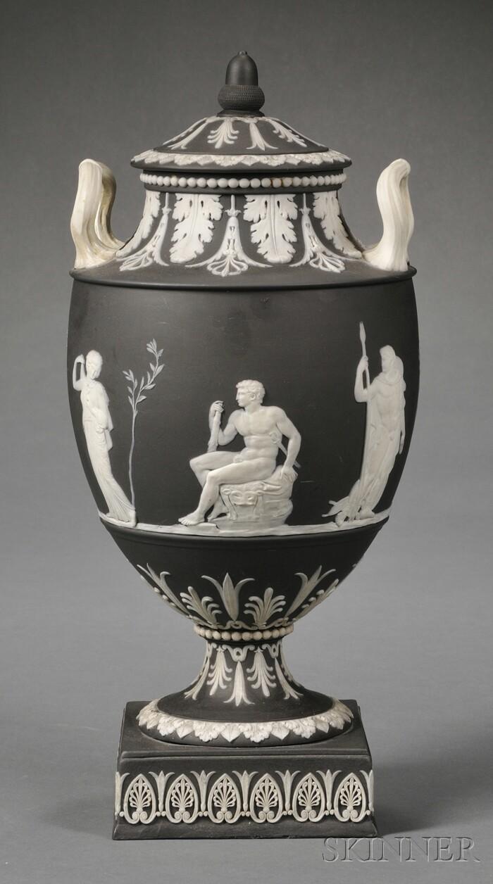 Wedgwood Solid Black Jasper Vase and Cover