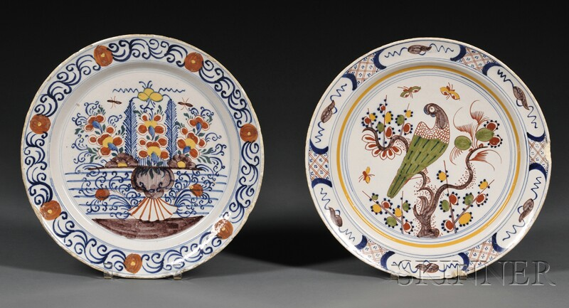 Two Dutch Delft Polychrome Decorated Chargers