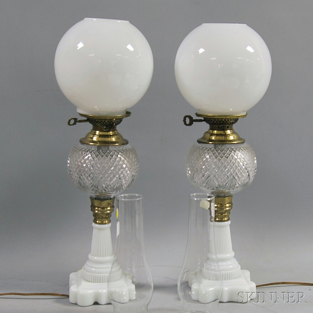 Pair of Milk Glass and Colorless Cut Glass Lamps