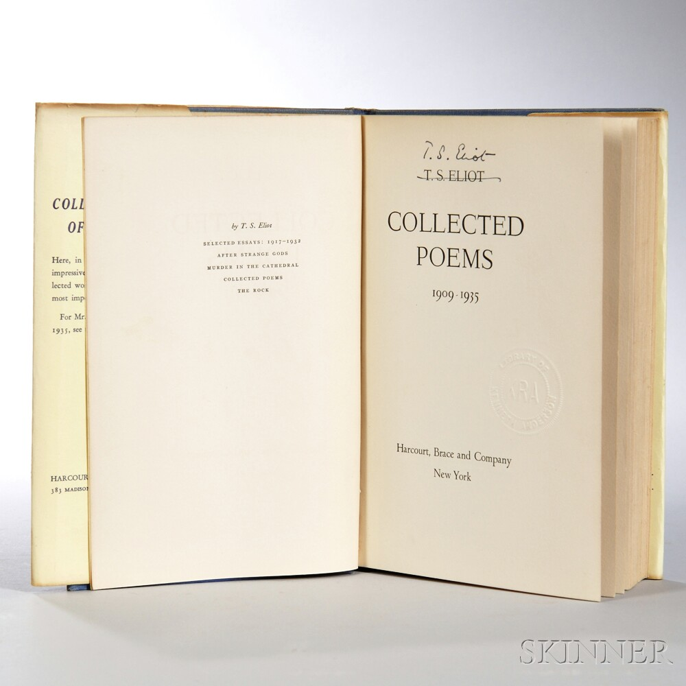 ts eliot selected essays 1917 Bonhams fine art auctioneers & valuers: auctioneers of art, pictures, collectables and motor cars.