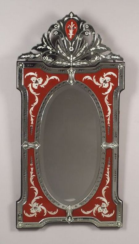 Venetian-style Cut and Reverse-Painted Mirror.