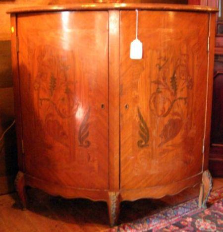 French Art Deco Marquetry and Veneered Two-Door Corner Cabinet