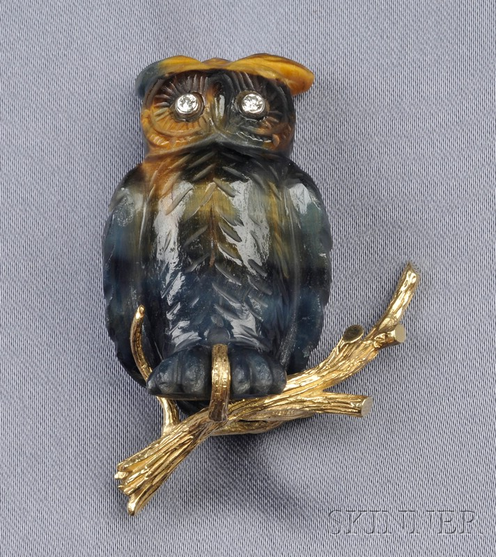 18kt Gold, Quartz, and Diamond Owl Brooch, Erwin Pearl