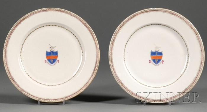 Pair of Chinese Export Armorial Dinner Plates