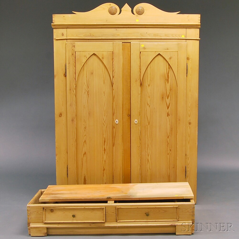 Stripped Pine Scroll-top Armoire