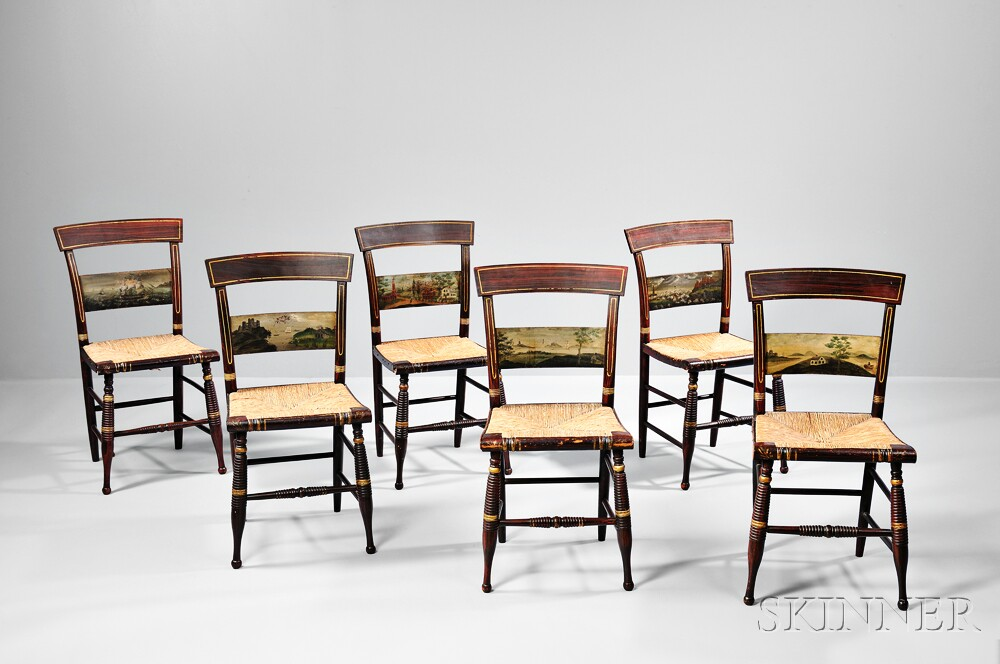 Set of Six Painted Fancy Chairs