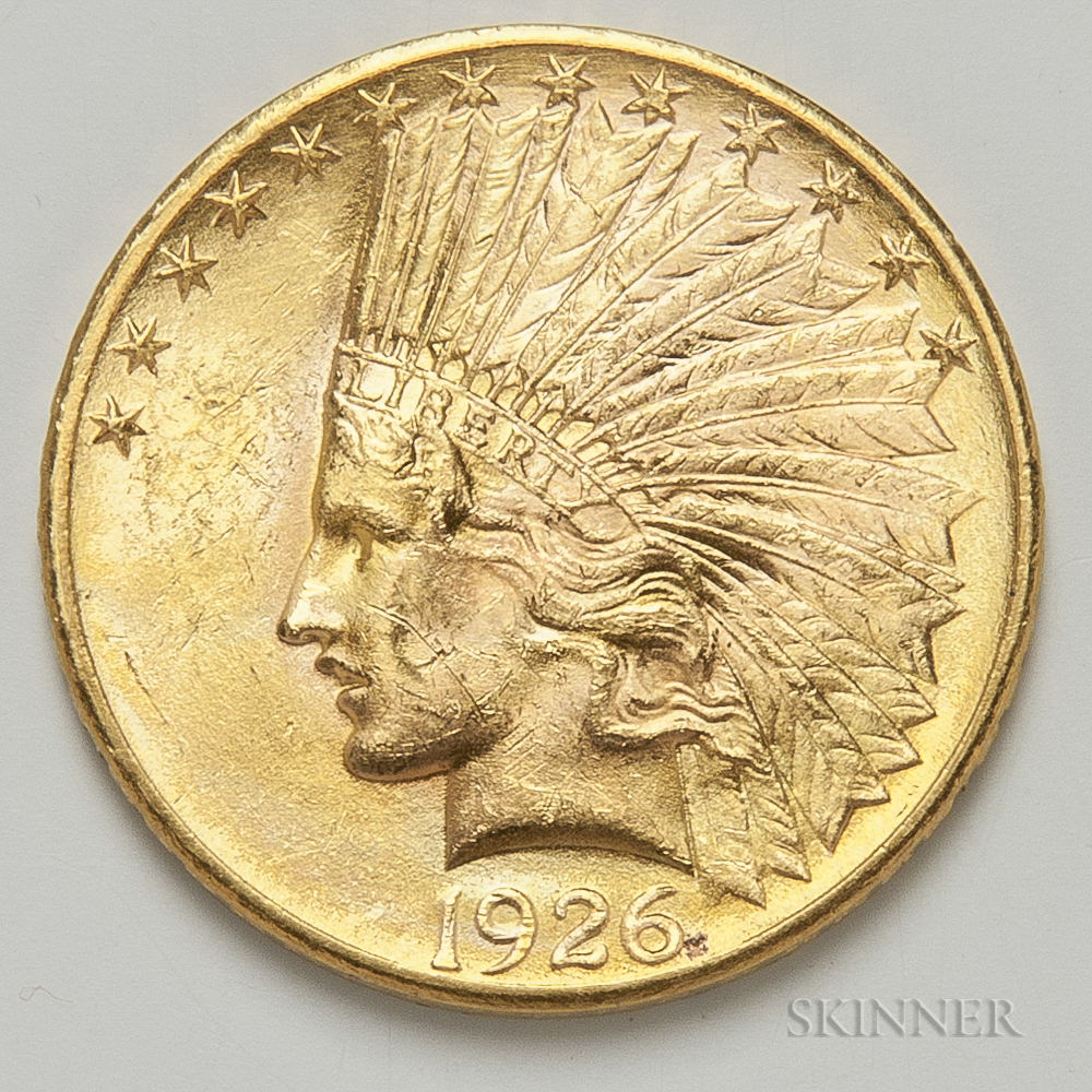 1926 $10 Indian Head Gold Coin.     Estimate $500-700