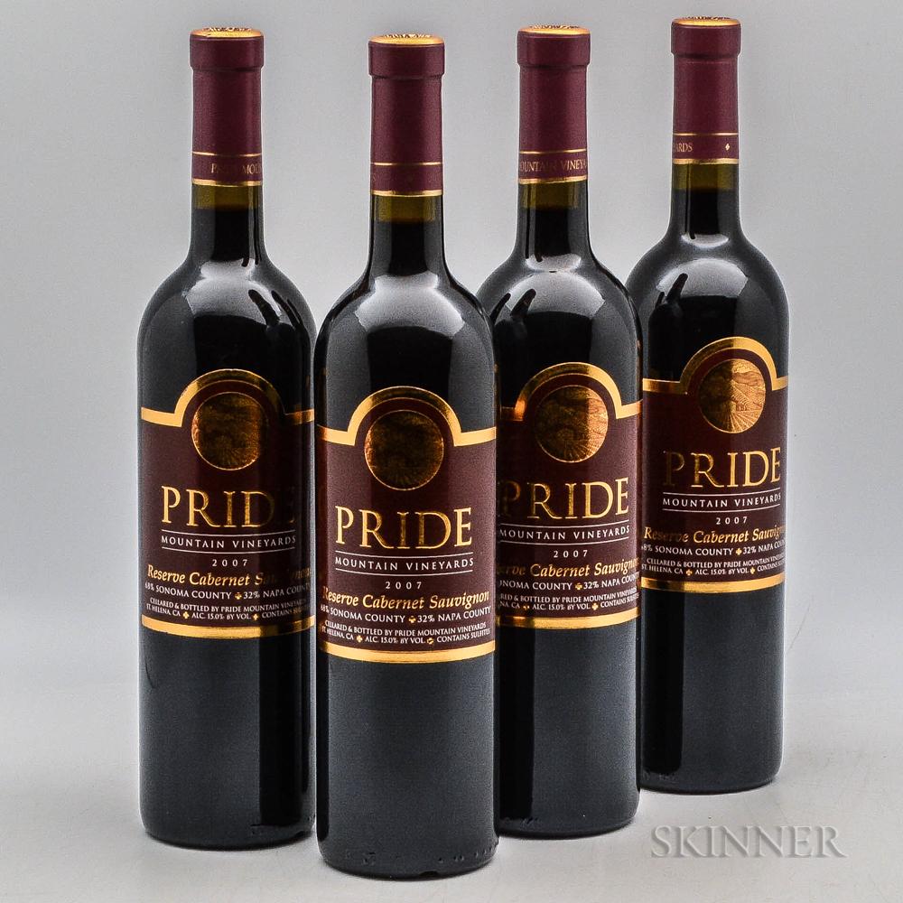 Pride Mountain Reserve Cabernet Sauvignon 2007, 4 bottles