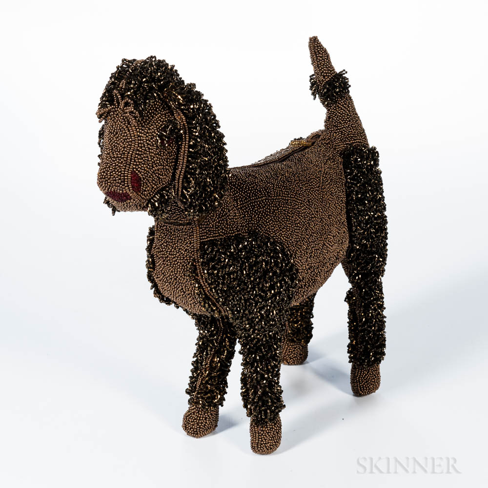Brown Beaded Poodle Clutch