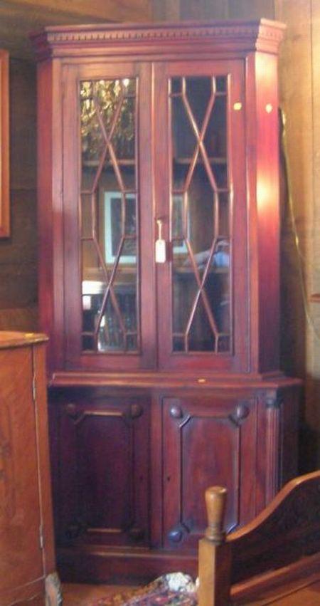Modern Georgian-style Carved Mahogany Two-part Corner Cupboard