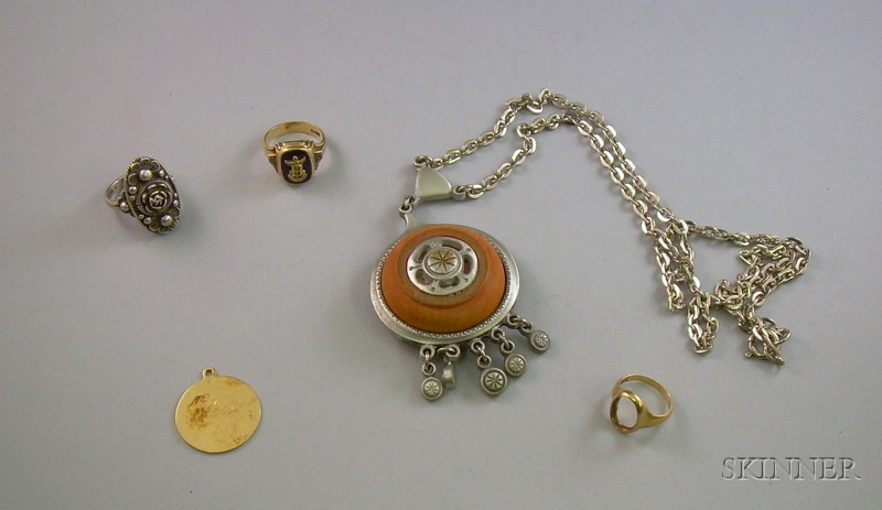 Rune Tennesmed Pendant Necklace, a 14kt Gold Pendant, and Three Rings