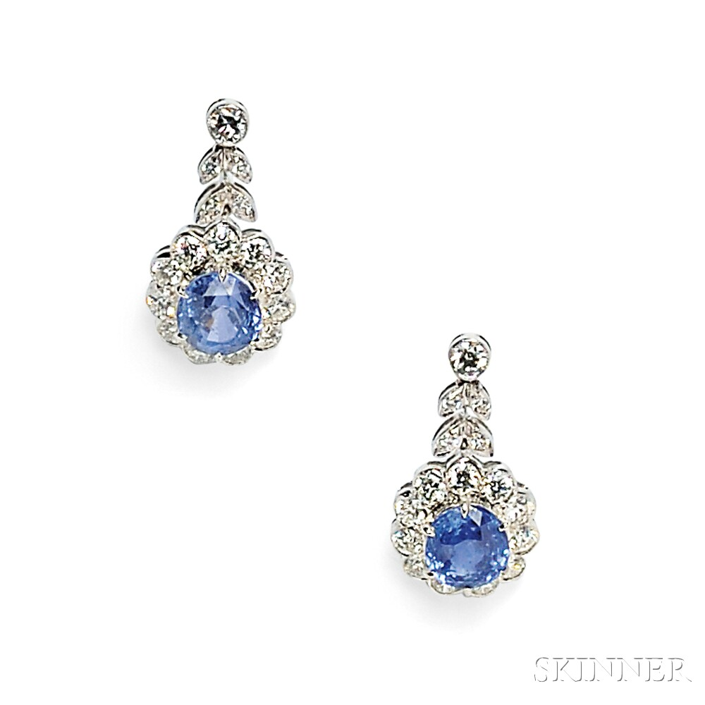 18kt White Gold, Sapphire, and Diamond Earpendants