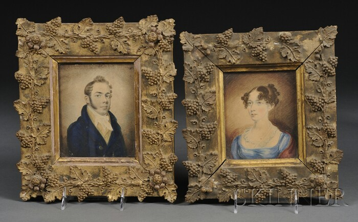 Pair of Framed Watercolor Portraits of Mr. and Mrs. Aaron Wedgwood