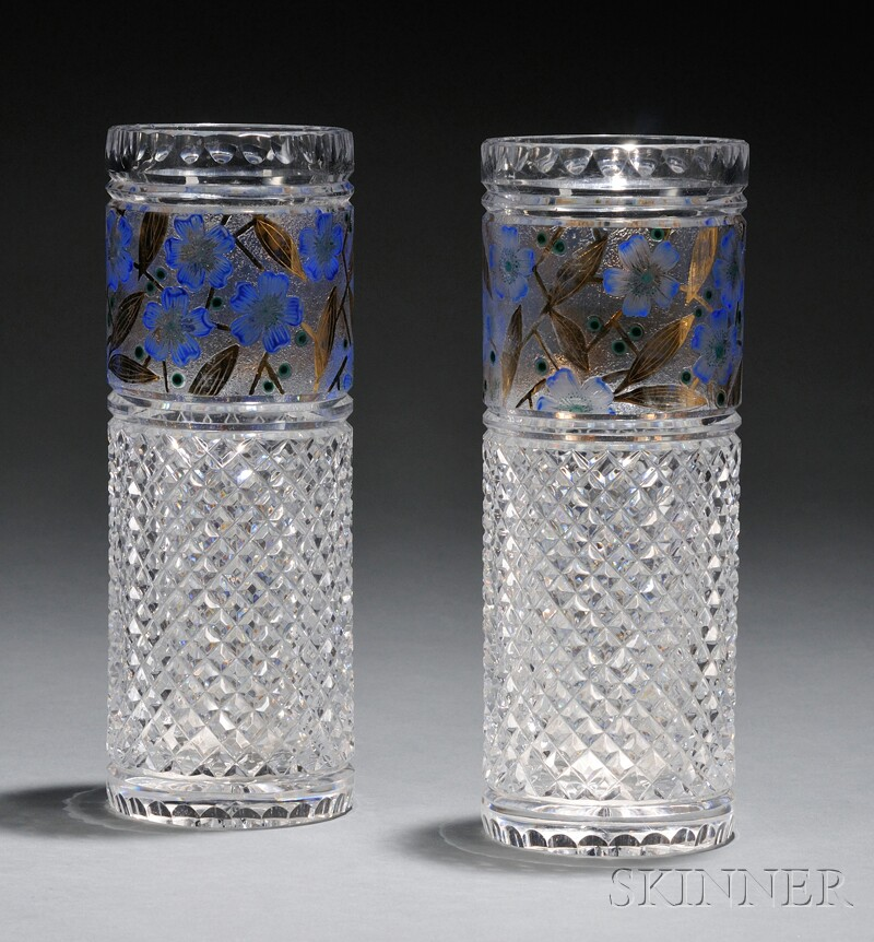 Pair of Cut, Enameled, and Gilded Glass Vases