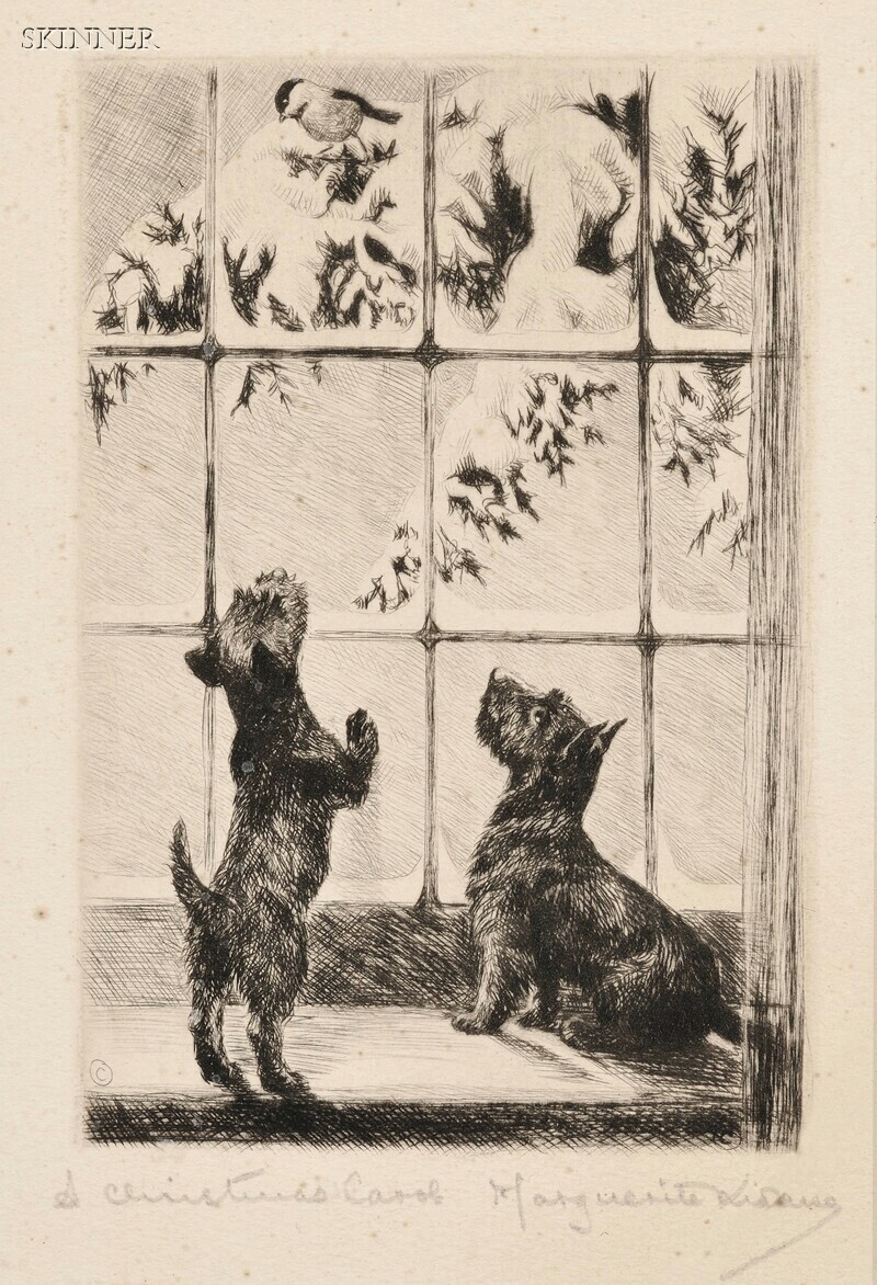 Marguerite Kirmse (American, 1885-1954)      Two Images of Scotties:  A Christmas Carol