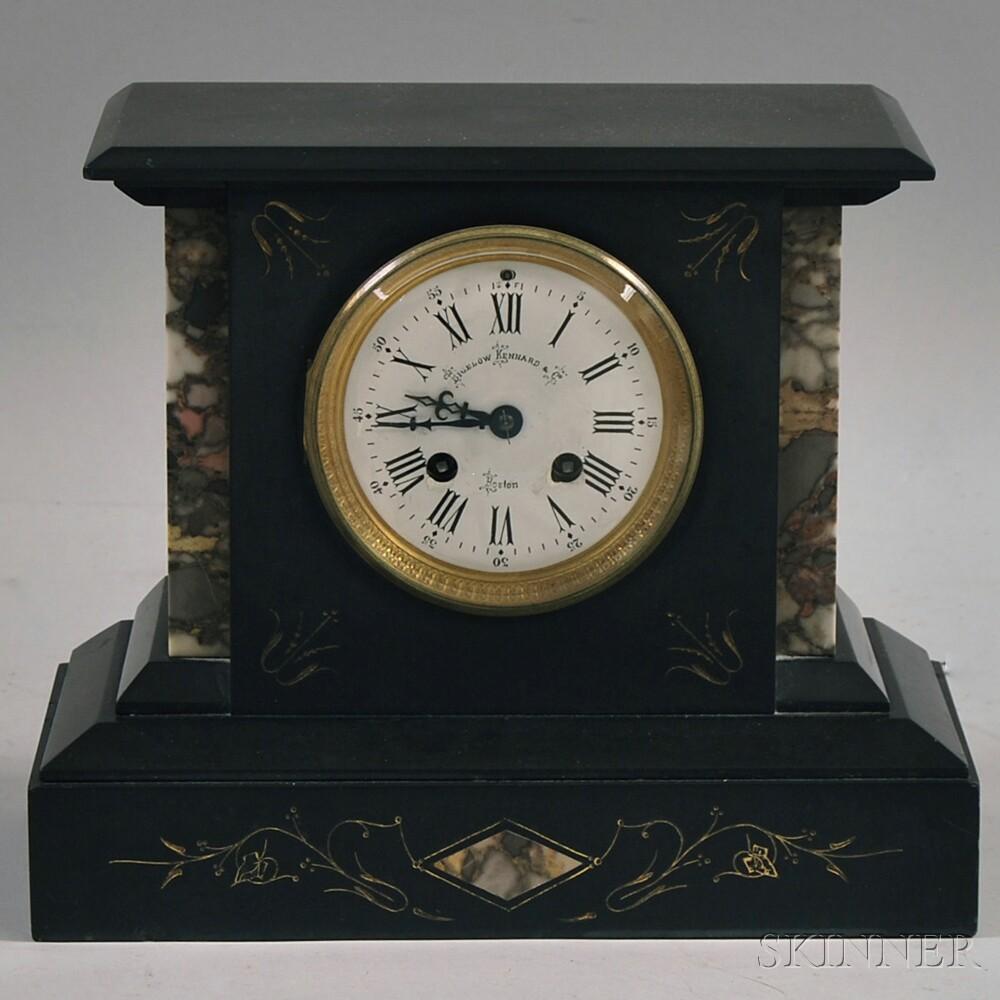Gilt-incised and Granite-inlaid  Black Slate Mantel Clock